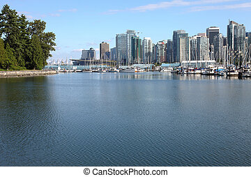 inham, bc, &, burrard, vancouver, jachthaven, skyline.