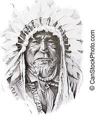 inheemse amerikaan, indiër, schets, gemaakt, tatoeëren, hand, leider