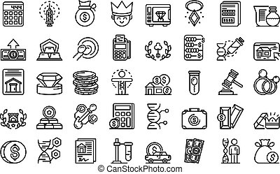 Inheritance icons set. Outline set of inheritance vector icons for web design isolated on white background