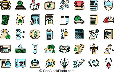 Inheritance icons set. Outline set of inheritance vector icons thin line color flat on white