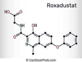 inhibitor, roxadustat, blut, hämoglobin, ihm, prolyl, produktion, rotes , molecule., cells., chemische , formel, hydroxylase, stimulates, skelettartig