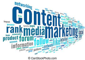 inhoud, marketing, conept, in, woord, label, wolk