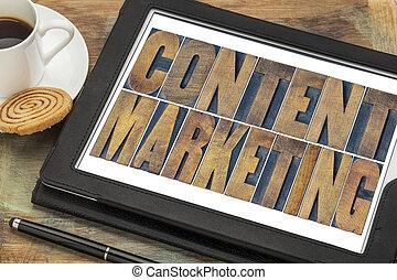 inhoud, marketing, typografie, op, tablet