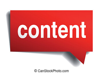 inhoud, rood, 3d, realistisch, papier, tekstballonetje,...