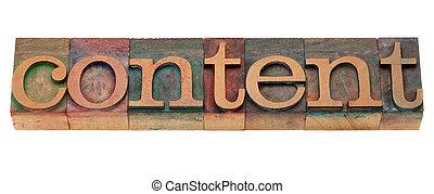 inhoud, woord, in, letterpress, type