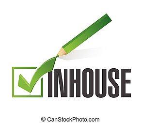 inhouse, checkmark, desenho, ilustração