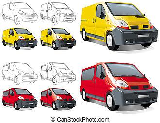?ini buss, van, cargo and passengers. Illustration