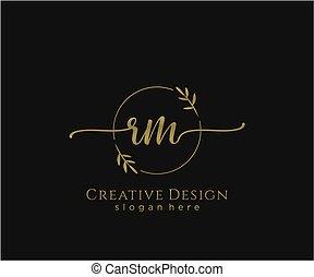 inicial, elegante, logotipo, rm, diseño, belleza, monogram