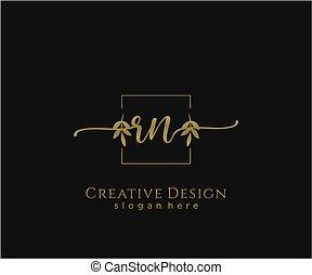 inicial, elegante, logotipo, rn, diseño, belleza, monogram