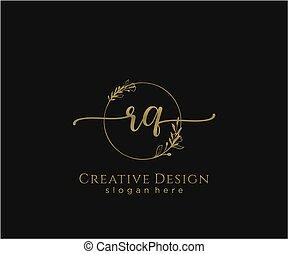 inicial, elegante, logotipo, rq, diseño, belleza, monogram
