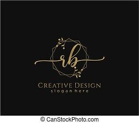 inicial, elegante, rb, logotipo, diseño, belleza, monogram