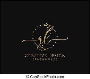 inicial, elegante, rl, logotipo, diseño, belleza, monogram