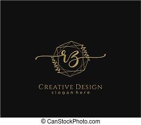 inicial, elegante, rz, logotipo, diseño, belleza, monogram
