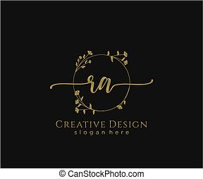 inicial, ra, elegante, logotipo, diseño, belleza, monogram
