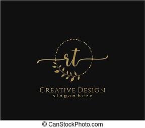 inicial, rt, elegante, logotipo, diseño, belleza, monogram