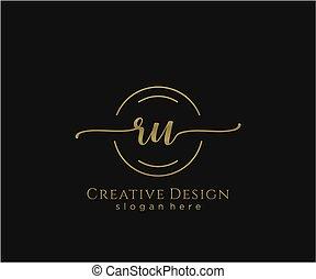 inicial, ru, elegante, logotipo, diseño, belleza, monogram