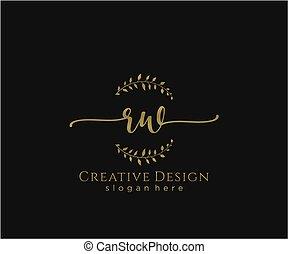 inicial, rw, elegante, logotipo, diseño, belleza, monogram