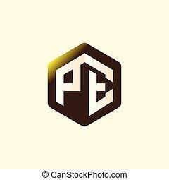 inicial, vector, carta, pe, logotipo, hexagonal