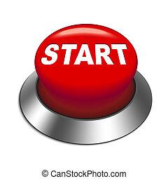 inicio botón, ilustración, 3d