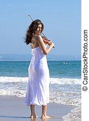 inidan, violist, op, strand