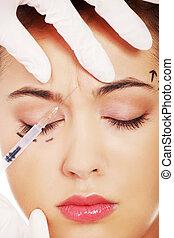 iniezione, botox, cosmetico