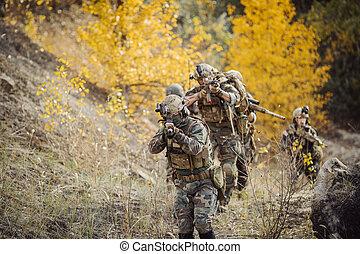 inimigo, luta, equipe, soldados, território, ocupado