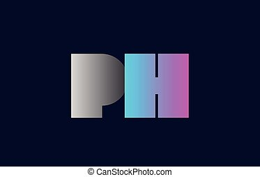 initial alphabet letter ph p h logo company icon design -...