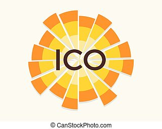 Initial coin offering, abbreviated: ICO. Attraction of investment, logo. Crypto currency. Vector illustration