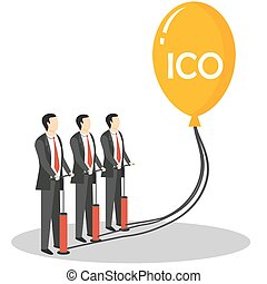 Initial coin offering concept vector illustration