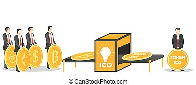 ICO token exchange concept vector illustration - Initial...