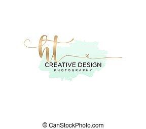 initial, ht, borsta, vektor, logo, handstil, mall
