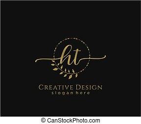initial, ht, elegant, logo, design, skönhet, monogram