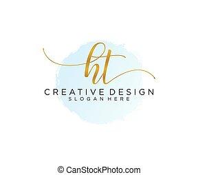 initial, ht, vattenfärg, vektor, logo, handstil, mall