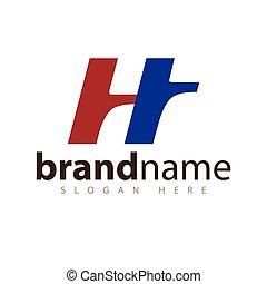 initial, ht, vektor, brev, logo, ikon