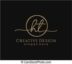 initial, ht, vektor, logo, cirkel, mall, handstil