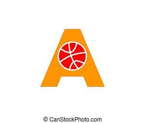 Initial letter A basketball logo design