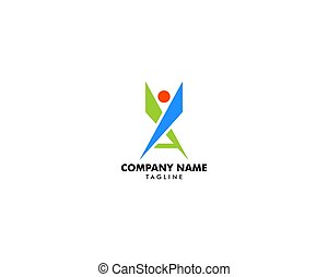 Initial Letter A People Logo Template