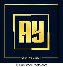 Initial Letter AY Logo Template Vector Design