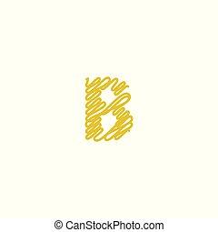 Initial letter B scribble gold logo
