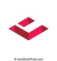 Initial Letter C Logo. Isometric 3D Shape, Geometric Icon Design. Red Color Graphic Design Element