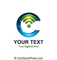 Initial letter C logo template colored blue green with wifi icon design for business and company identity