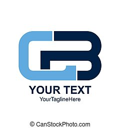 Initial letter CB logo design template element colored blue...