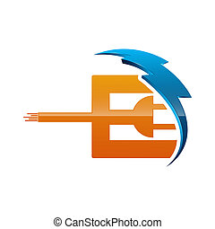 Initial letter E logo template colored blue and orange electric design for business and company identity