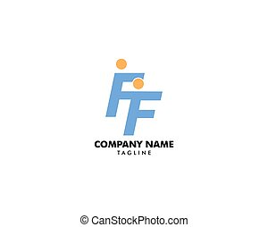Initial Letter FF Logo with People Design Vector