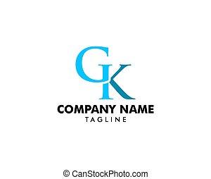 Initial letter GK logo vector template