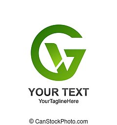 Initial letter GV logo template colored green design for business and company identity