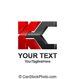 Initial letter KC logo template colored dark grey red design...