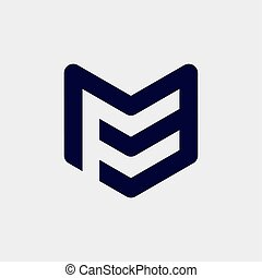 initial letter mf or fm logo template