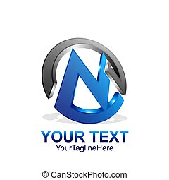 Initial letter N logo template colored grey blue cirlce design for business and company identity