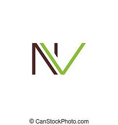 Initial letter nv logo or vn logo vector design template